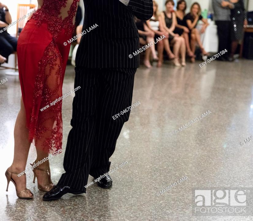 Stock Photo: Detail of tango dancers in milonga ballroom.