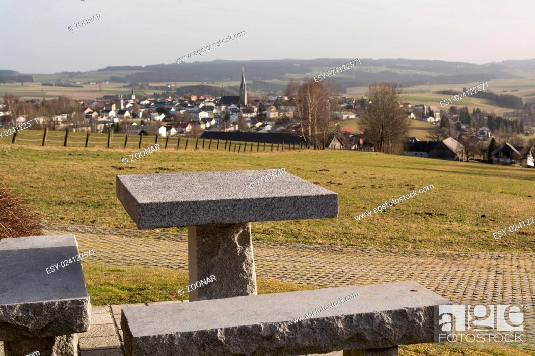 Stock Photo: View from break place on small borough Bad Leonfelden in the countryside - Austria.