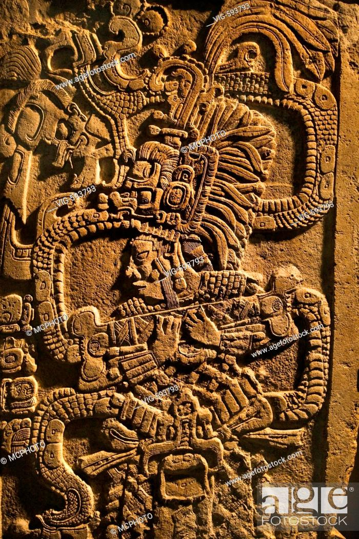 Stock Photo: Bas relief of Mayan Royalty in the new de Young Museum, built by architects Herzog and de Meuron - San Francisco, California - 18/12/2007.