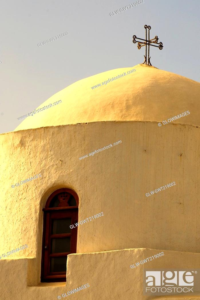 Stock Photo: Low angle view of a dome of a church, Skala, Patmos, Dodecanese Islands, Greece.