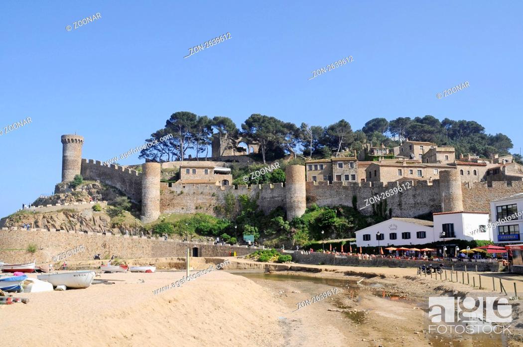 Stock Photo: Castle Villa Vella, old town, coastal village Tossa de Mar, Costa Brava, Catalonia, Spain, Europe, Burg Villa Vella, Altstadt, Kuestenort Tossa de Mar.