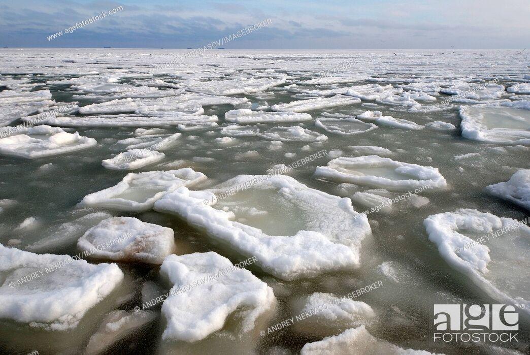 Stock Photo: Frozen Black Sea, a rare phenomenon, Odessa, Ukraine, Eastern Europe.