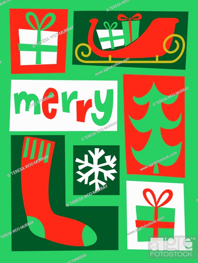 Stock Photo: A green red and white colored collection of Christmas based images with the caption Merry.