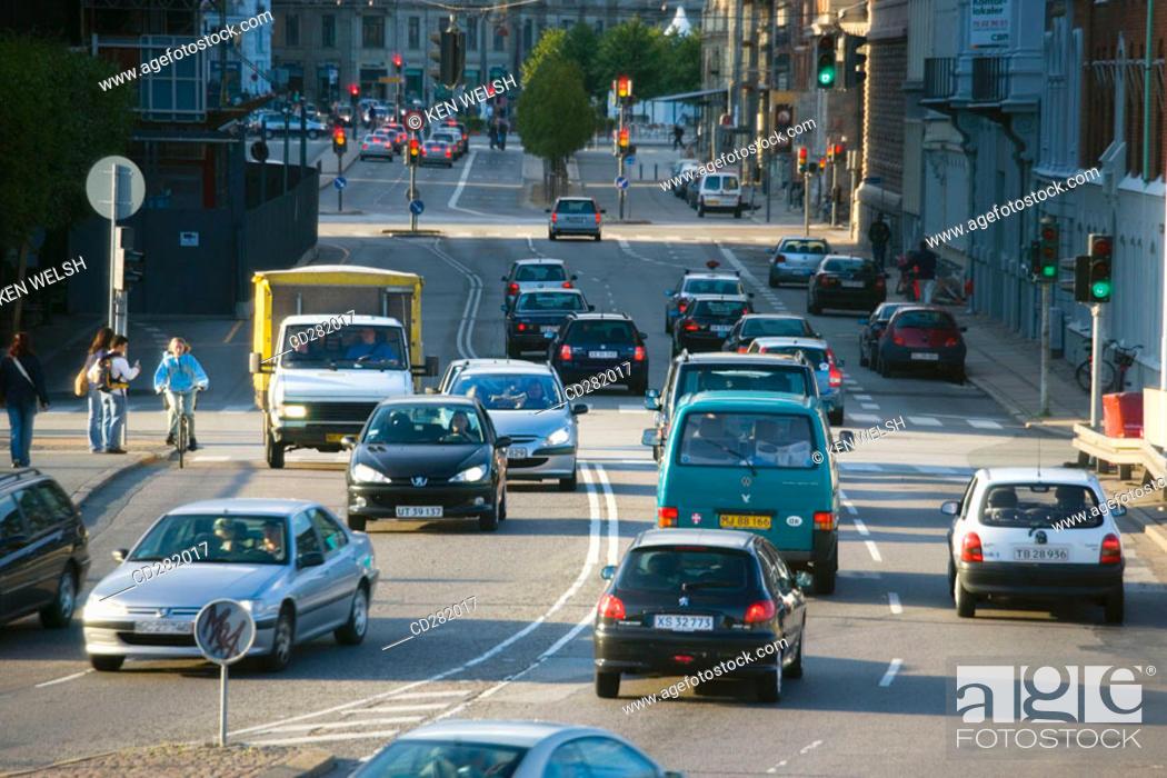 Stock Photo: Street scene with motorized traffic, Copenhagen, Denmark.