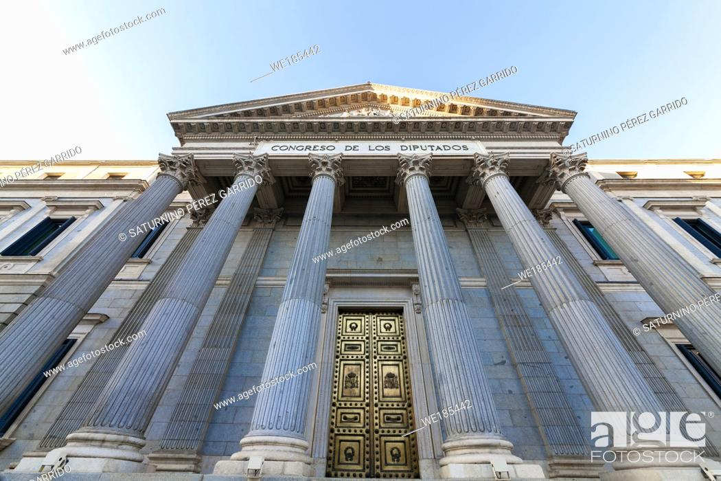 Stock Photo: Main entrance of the congress of the deputies of Spain.