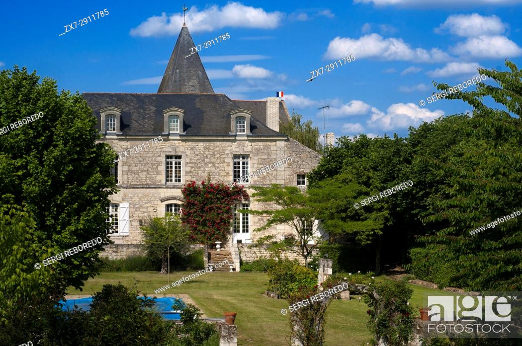 Stock Photo: One of the multiple private mansions built like a castle. Bike ride from Fontevraud to Saumur, Loire Valley, France. Twenty kilometers of bicycle from.
