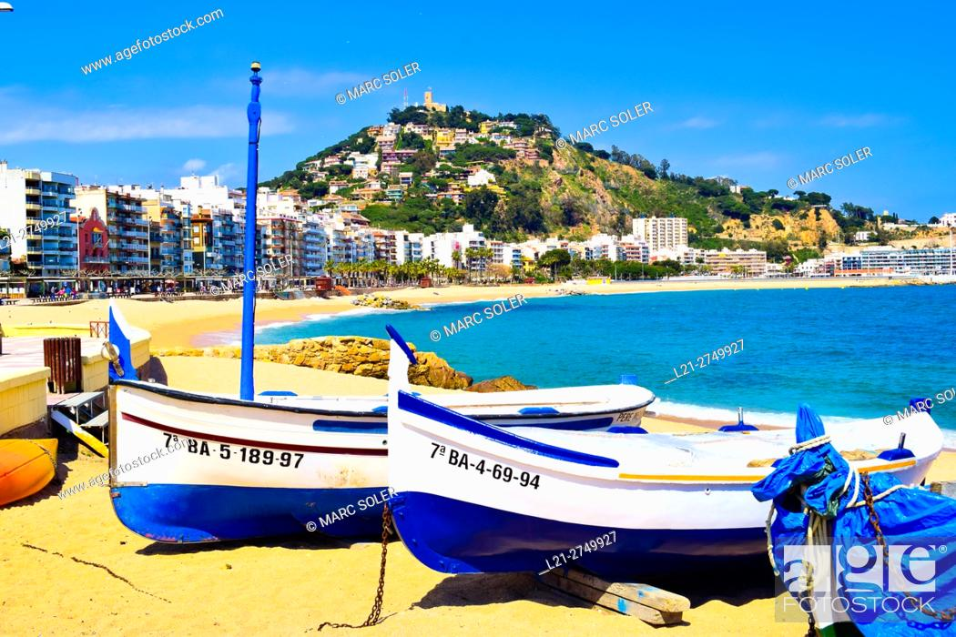 Stock Photo: Boats on the beach. Blanes, Catalonia, Spain.