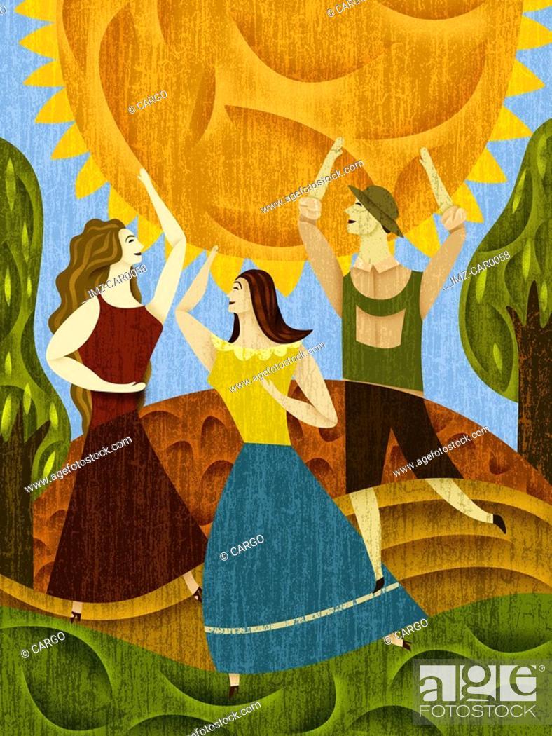 Stock Photo: Three people dancing near the sun.
