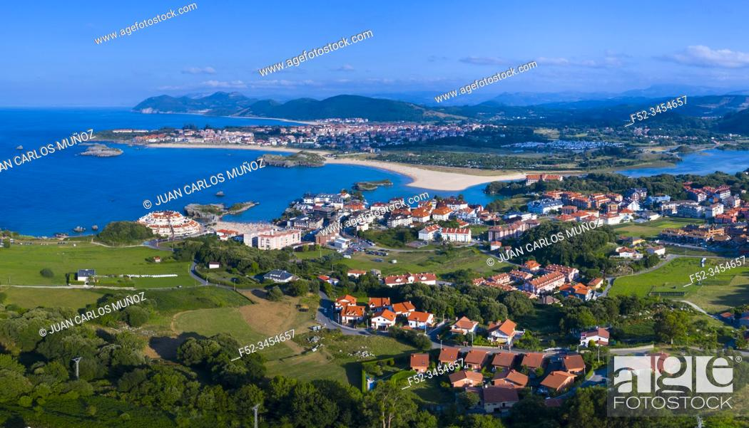 Stock Photo: Aerial View, Isla, Arnuero Municipality, Comarca Trasmiera, Cantabria, Cantabrian Sea, Spain, Europe.