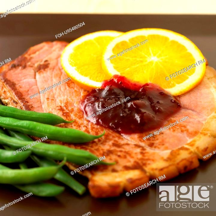 Stock Photo: Slice Of Gammon With Orange And Green Beans.