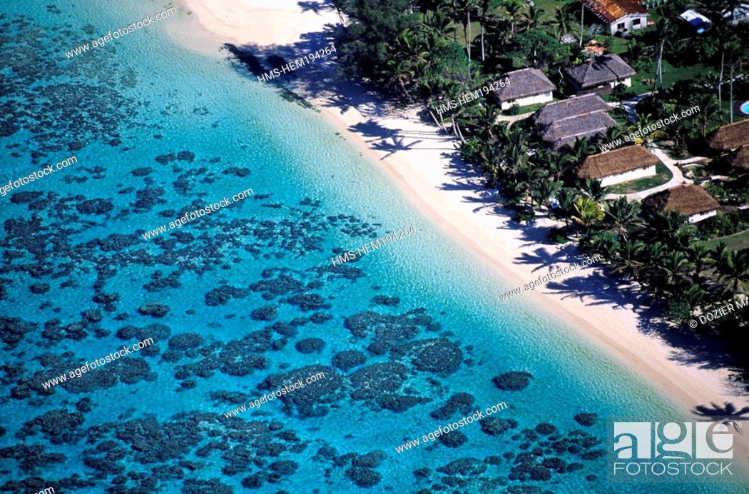 Stock Photo: Cook Islands, Rarotonga Island aerial view.