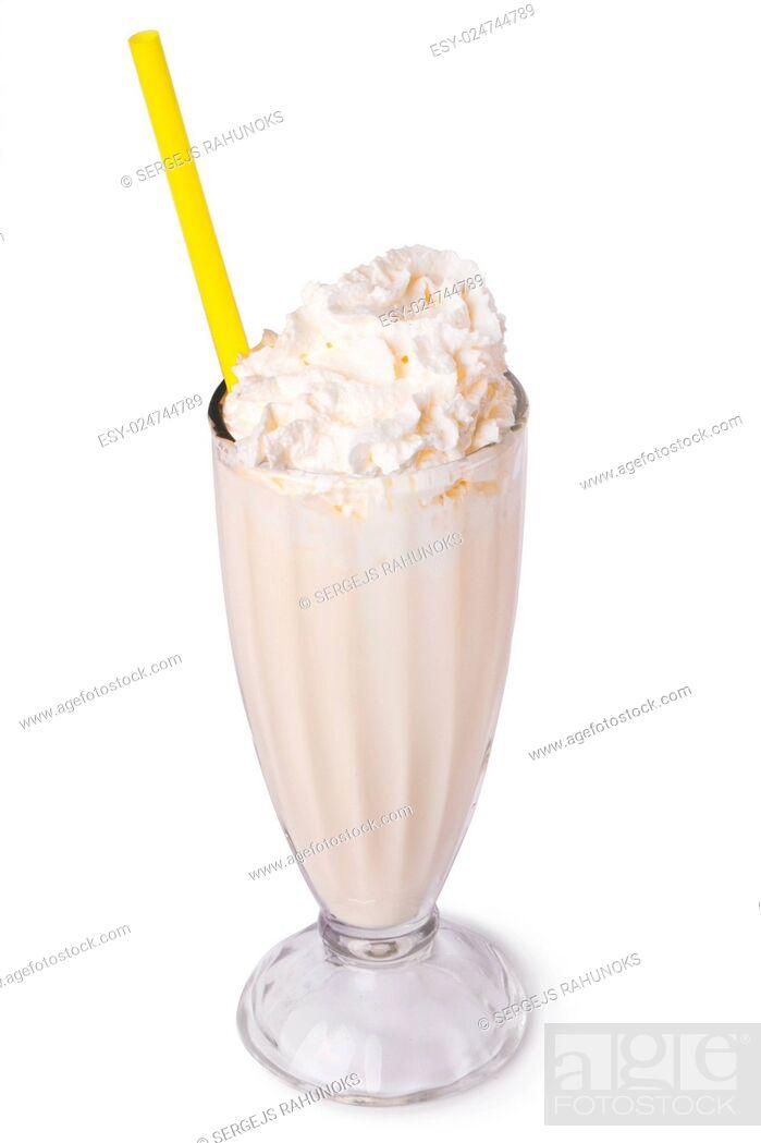 Stock Photo: Delicious banana milkshake on a white background.