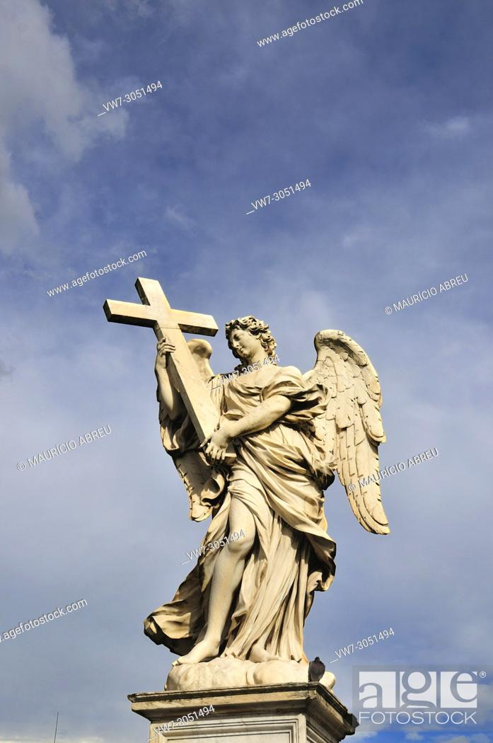 Stock Photo: Angel with a Cross, by Ercole Ferrata, Ponte Sant'Angelo, Rome. Italy.