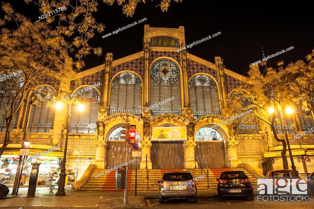 Stock Photo: Central Market at night, Valencia, Spain.