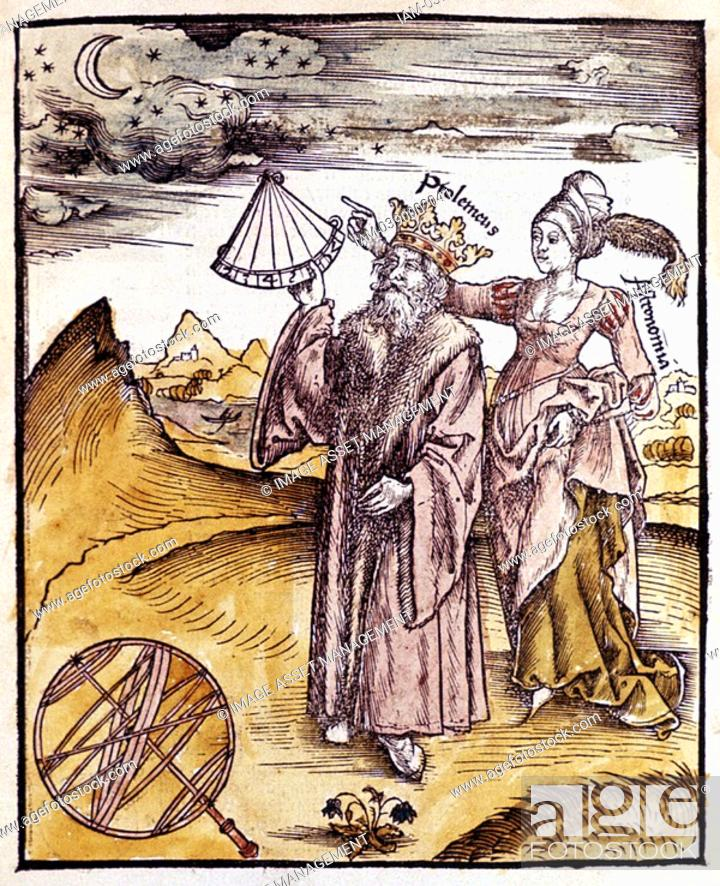 Stock Photo: Ptolemy Claudius of Ptolemaeus activel150 AD Alexandrian Greek/Egyptian astronomer and geographer, using quadrant to measure altitude of Moon  Behind him stands.