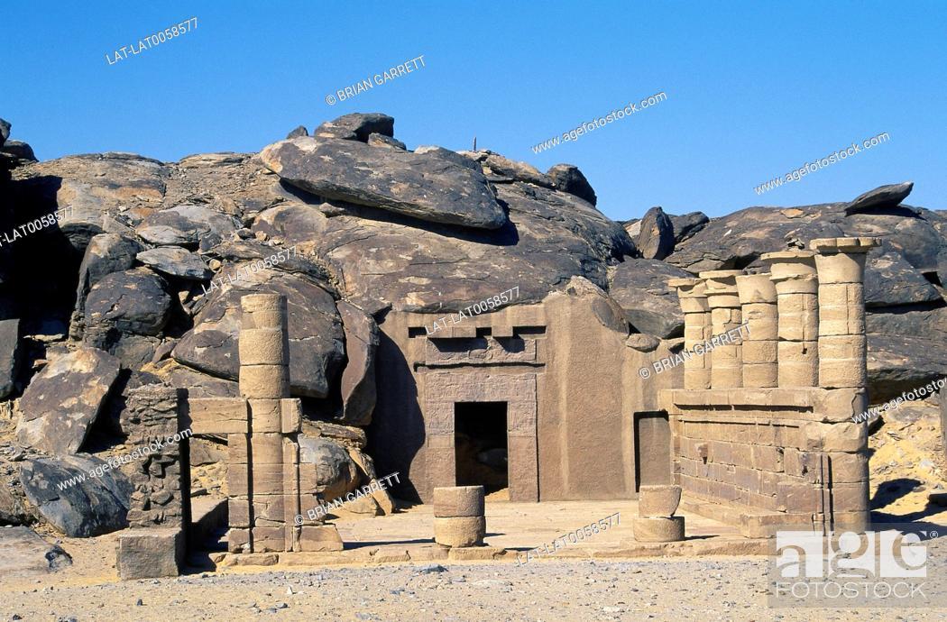 Stock Photo: Lake Nasser. Kalabsha temple. Archeological site. Door. Columns. Rocks/ boulders.