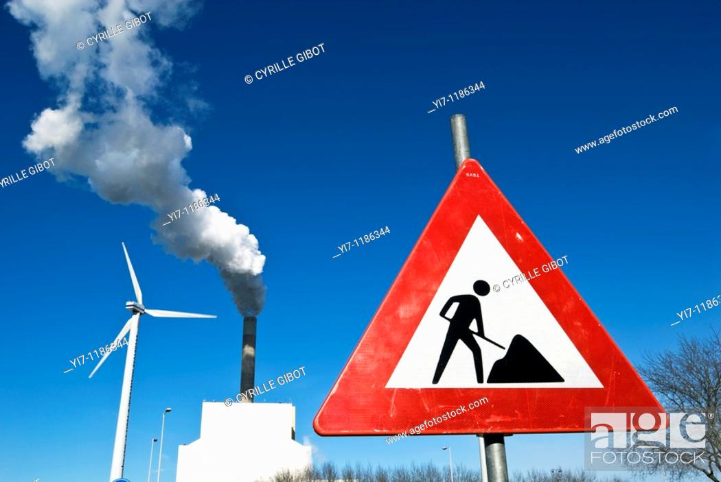 Stock Photo: Under construction sign by electric power station, Amsterdam, the Netherlands.