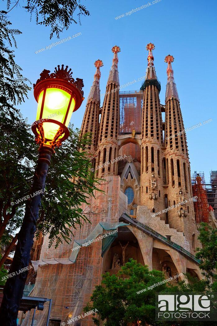 Stock Photo: Basilica of the Sagrada Familia by Antonio Gaudí, Barcelona, Catalonia, Spain.