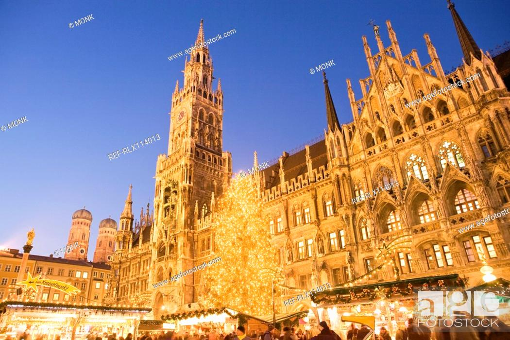 Stock Photo: Christmas Market in Marienplatz, Munich, Germany.