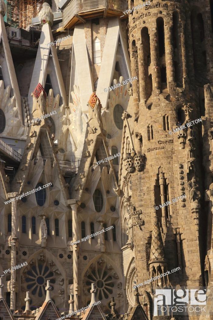 Stock Photo: Closeup La Sagrada Familia Barcelona Spain 2017.
