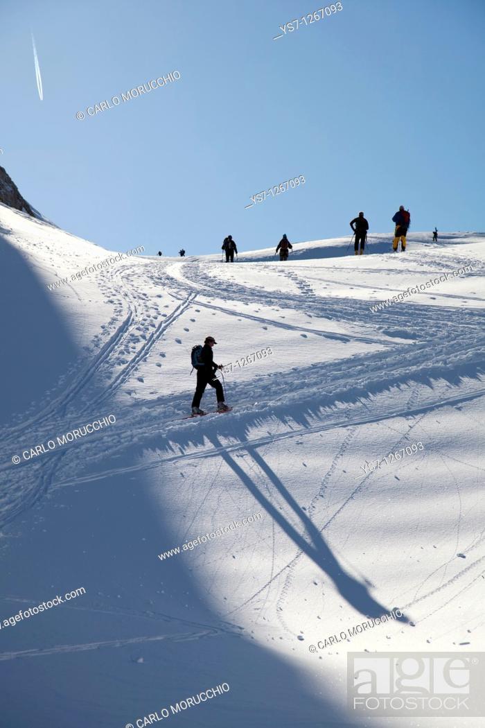 Stock Photo: Ski mountaineering at Pale di San Martino, Dolomites, eastern Alps, Trentino Alto Adige, Italy.