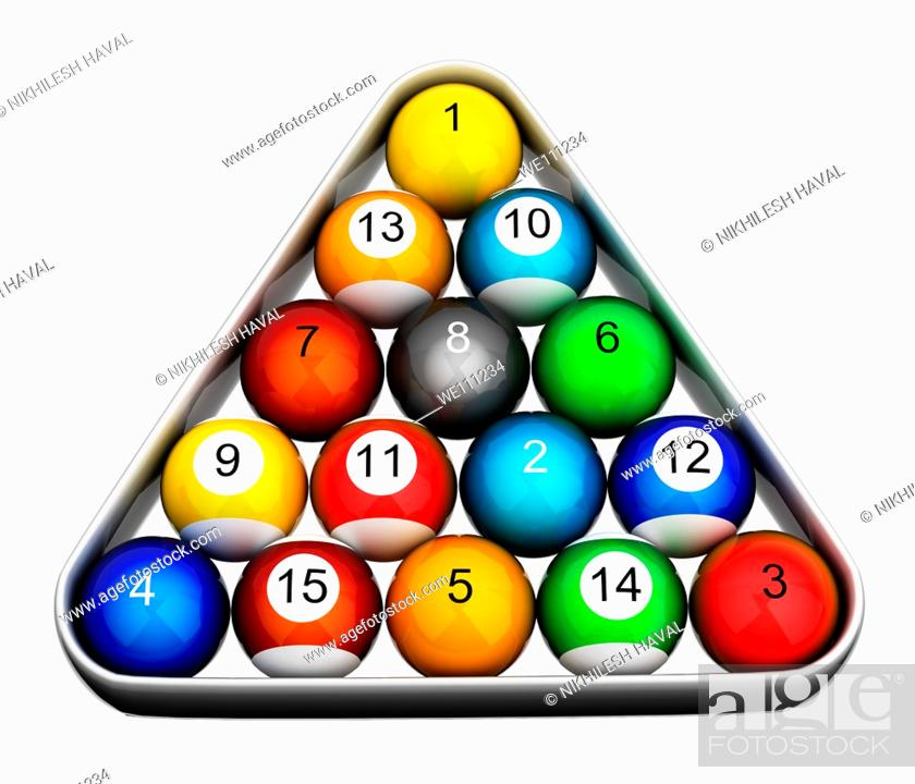 Stock Photo: Snooker pool billiards balls colourful numbered.