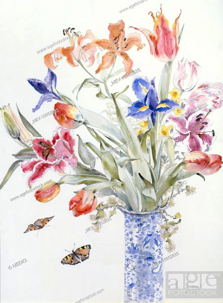 Spring Flowers And Butterflies Lilies Tulips Irises Apple