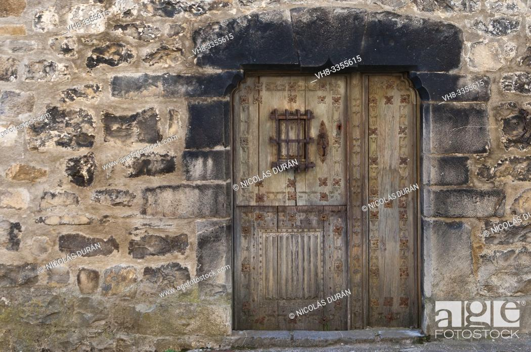 Stock Photo: window in rustic house in Aragon Pyrenees, Spain.