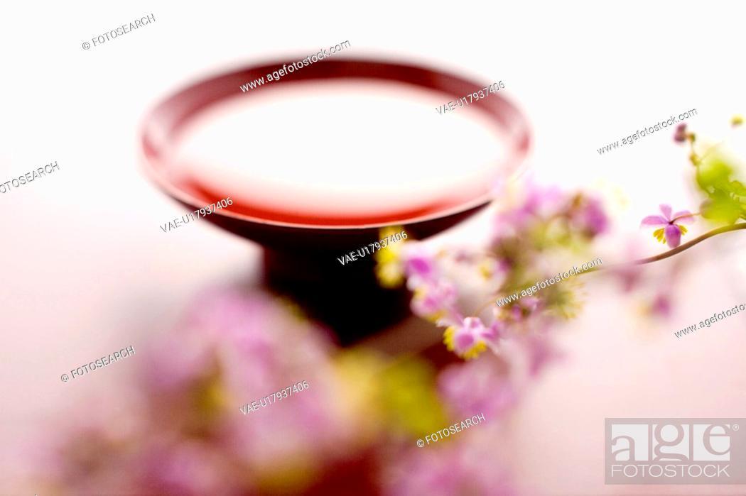 Stock Photo: Sake and Thalictrum rochebrunianum.