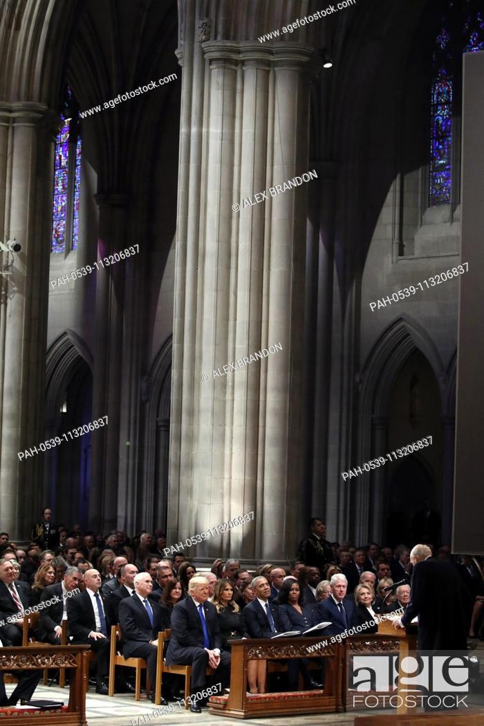 Stock Photo: From left, President Donald Trump, first lady Melania Trump, former President Barack Obama, Michelle Obama, former President Bill Clinton.