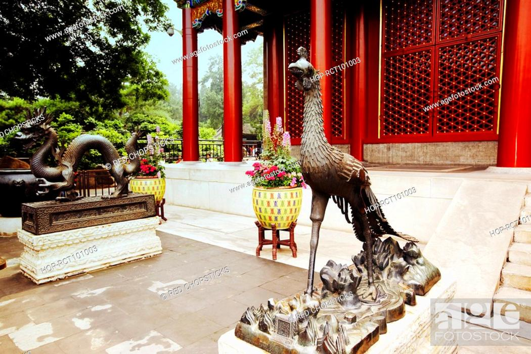 Stock Photo: Phoenix statue in front of a building, Summer Palace, Beijing, China.