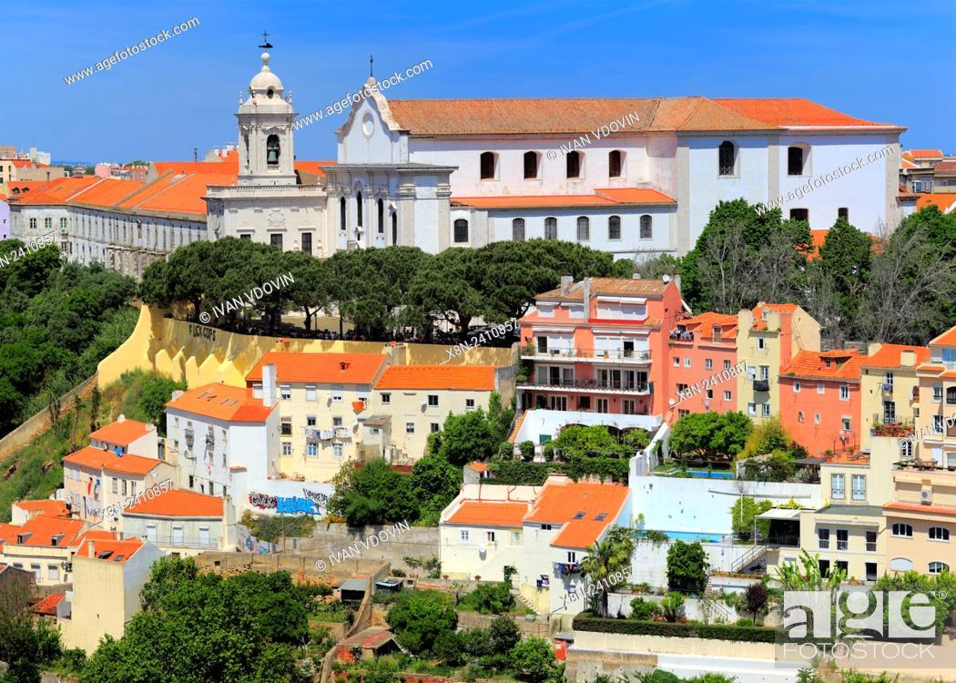 Stock Photo: Miradouro de Graca church, from Castle of Sao Jorge (Castelo de Sao Jorge), Lisbon, Portugal.
