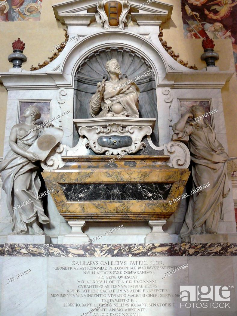 Stock Photo: Florence Italy  Galileo's tomb inside the Basilica of Santa Croce in the historical city of Florence.