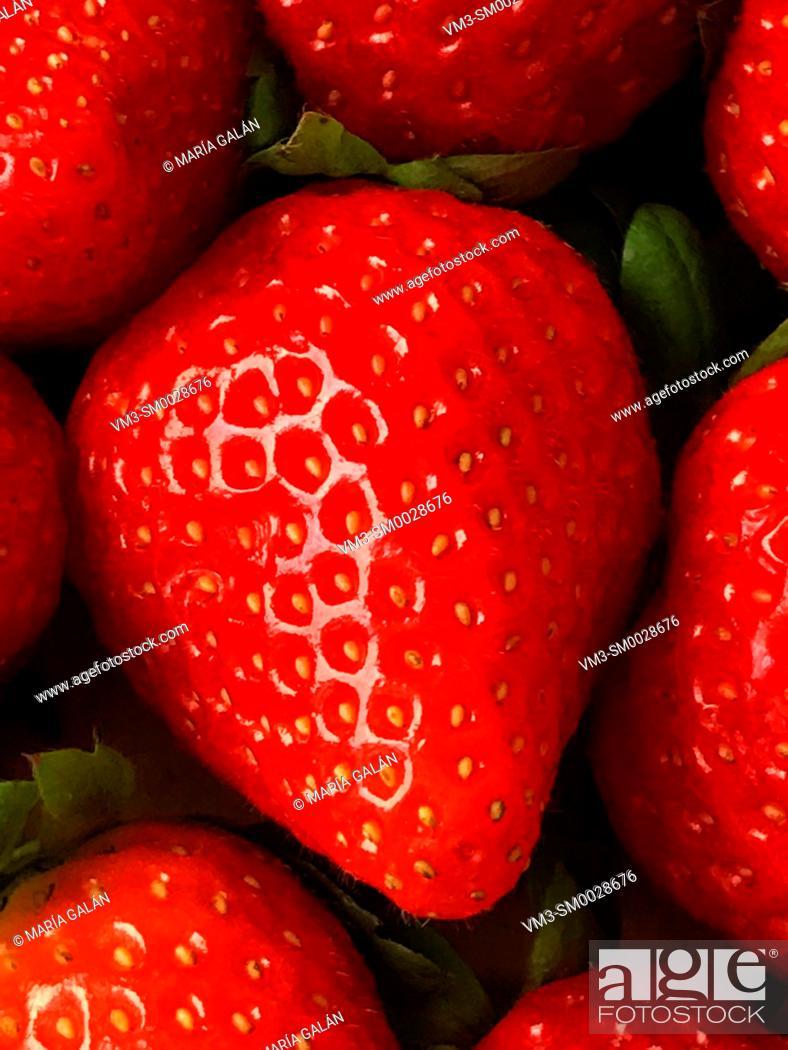 Stock Photo: Strawberry. Close view.
