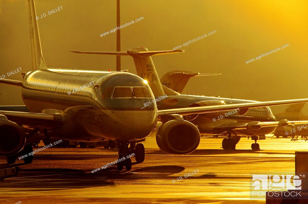 Stock Photo: Heavy traffic at the Amsterdam Schiphol International Airport, Holland.