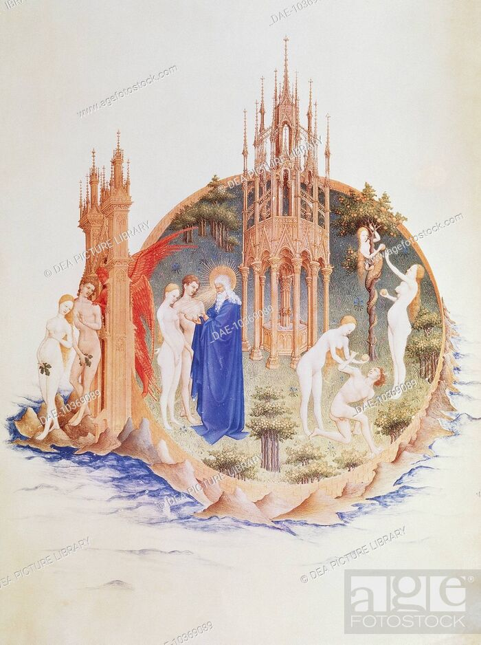 Stock Photo: Temptation, Fall, and Expulsion miniature by Pol Limbourg from The Very Rich Hours of the Duke of Berry, France 14th Century.