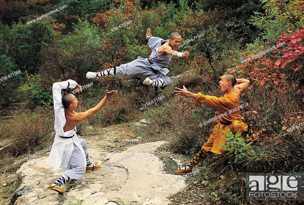 Stock Photo: Wushu students practising kung fu, shaolin, China.