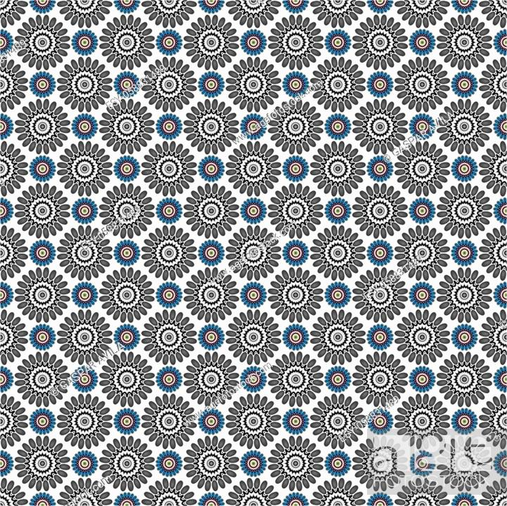 Stock Vector: Geometric pattern of digital daisies, which also resemble cog wheels.