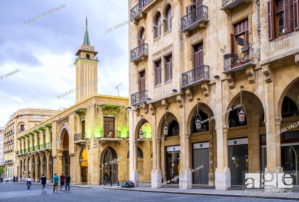 Imagen: El Omari Mosque street, in background Al-Omari Grand Mosque, Downtown, Beirut, Lebanon.