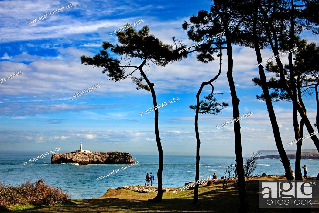 Stock Photo: Mouro Island Lighthouse and Bay of Biscay, Santander, Cantabria, Spain.
