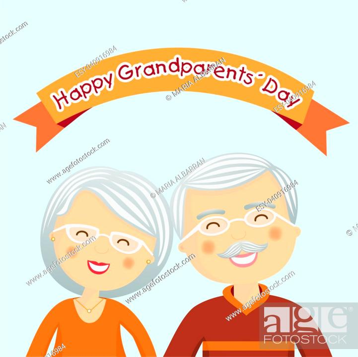 Stock Vector: Happy grandparents day with grey hair.