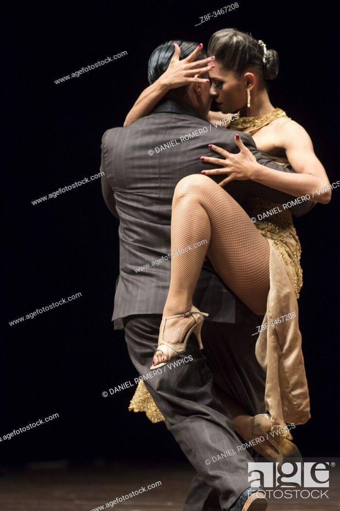 Stock Photo: Group and couple dance contest. . International Tango Festival organized by the Mayor's Office of Medellin.