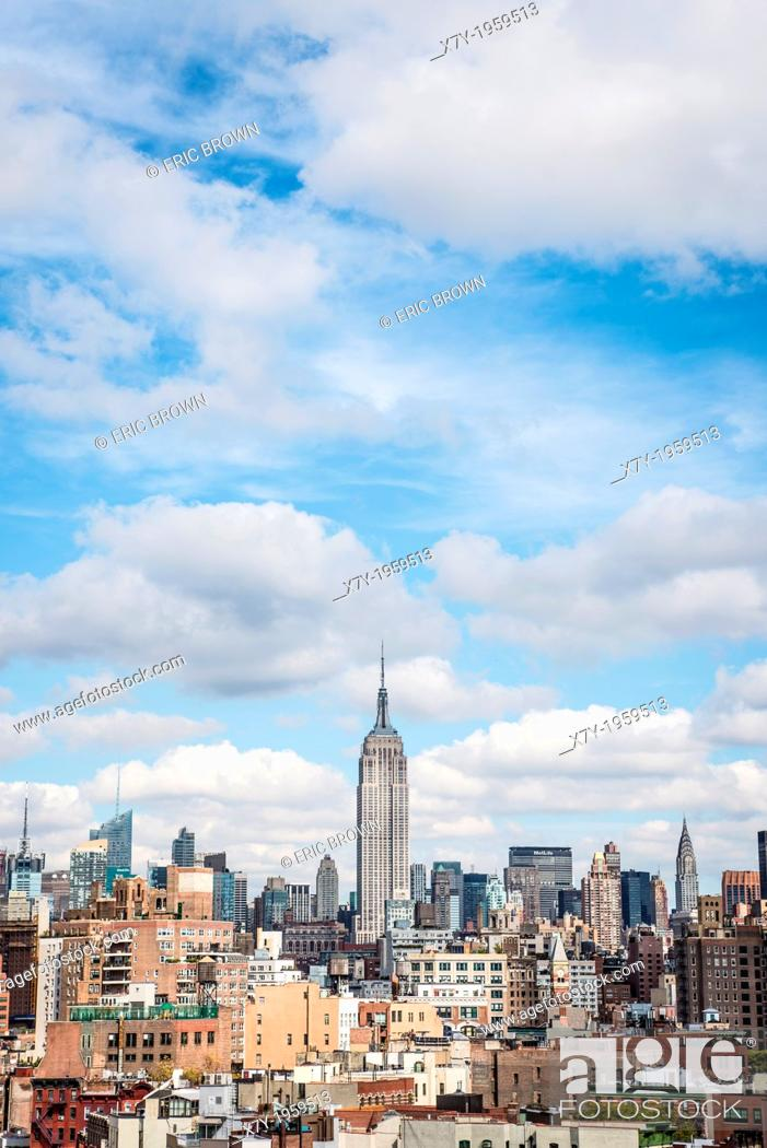 Stock Photo: Skyline of New York City prominently featuring the Empire State Building.