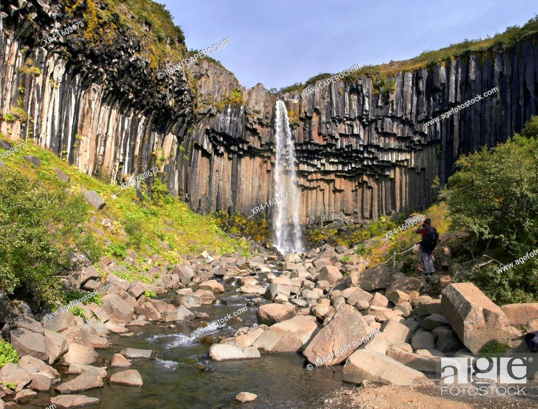 Stock Photo: Svartifoss waterfall, Skaftafell National Park, Iceland.