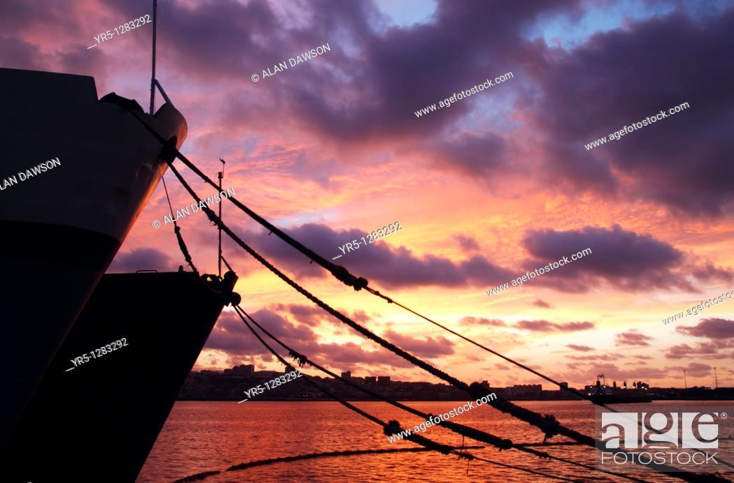 Stock Photo: Fishing boats at sunset  Puerto de La Luz, Las Palmas, Gran Canaria, Canary Islands, Spain.