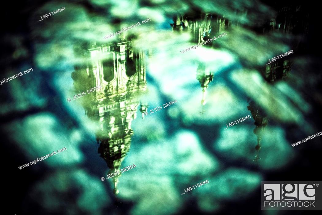 Stock Photo: Reflection of the Cathedral, Santiago de Compostela, Galicia, Spain.
