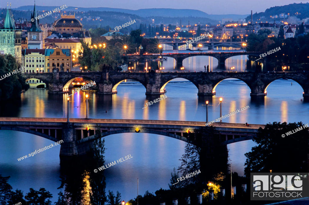 Stock Photo: Charles Bridge (Karluv Most), Prague's most famous, was built in 1357 by Emperor Charles IV on the site of an older bridge. On the left are (L. to R.
