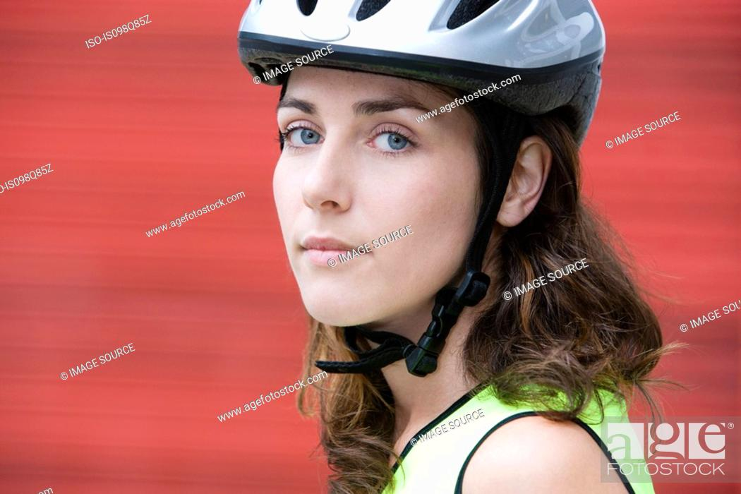 Stock Photo: Female cyclist.