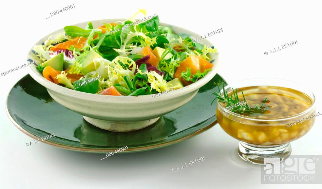 Stock Photo: Mixed salad with sauce.