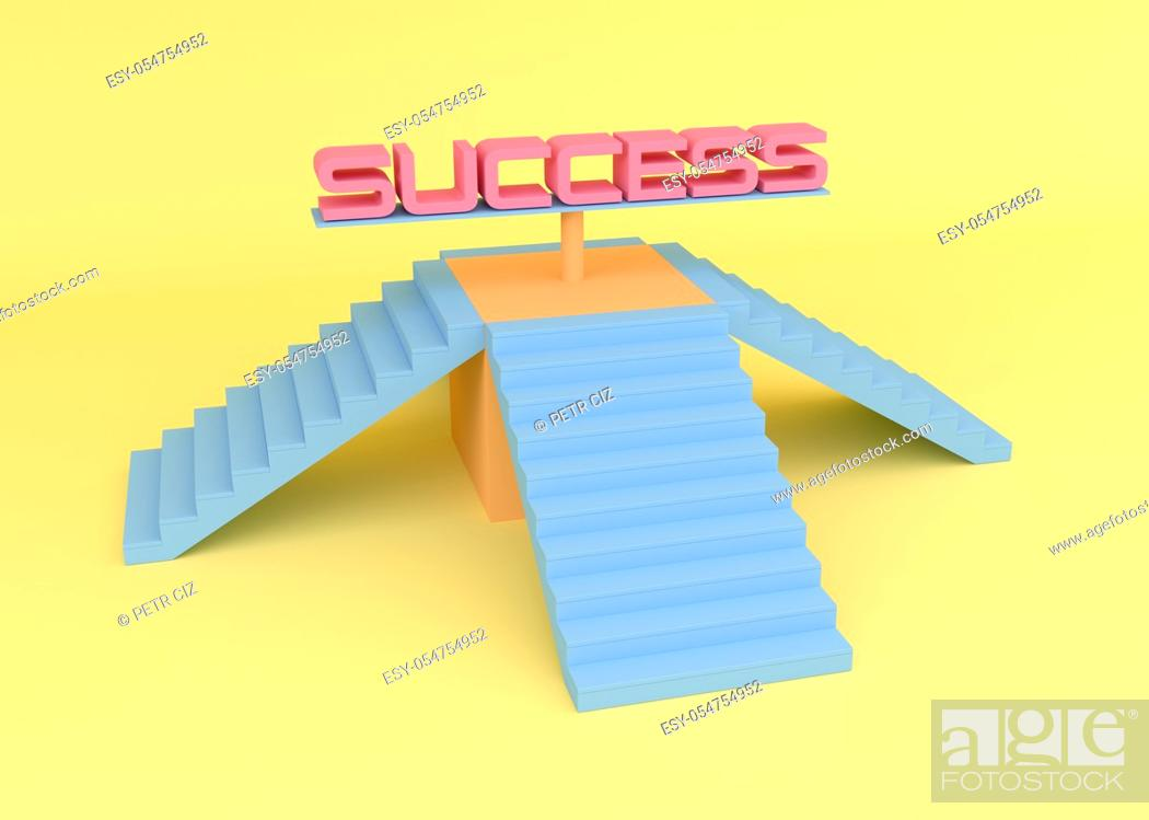 Stock Photo: Stairs to life success background.